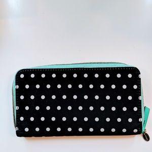 Fossil polka dot zip around wallet